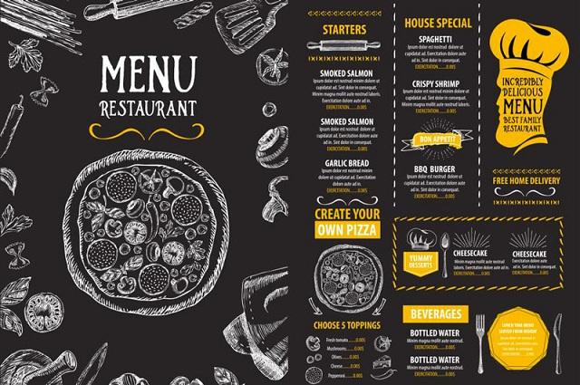 in menu nhà hàng đẹp giá rẻ