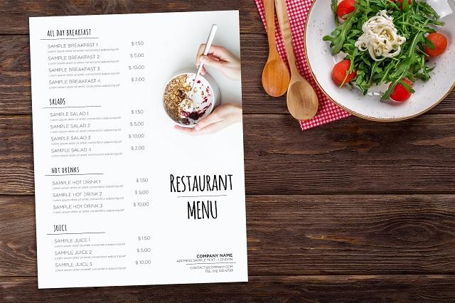 in menu nhà hàng lấy liền