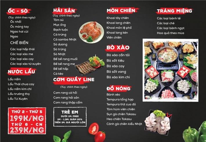 in menu quán nướng hcm