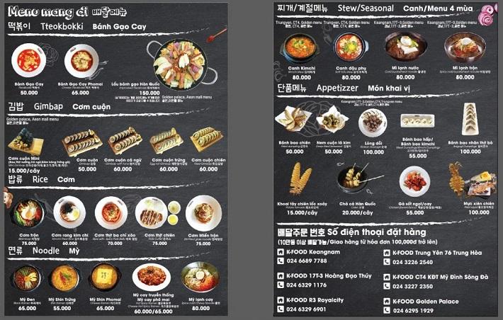 in menu quán nướng chất lượng