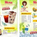 mẫu menu quán trà sữa độc đáo