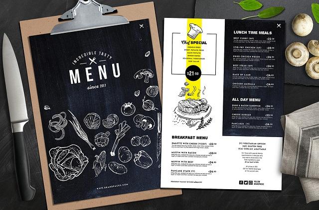 mẫu menu đẹp cho nhà hàng