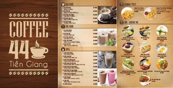 mẫu menu đẹp cho quán cà phê rẻ