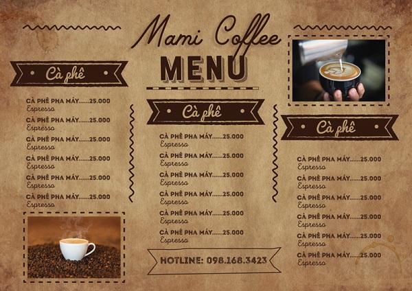 mẫu menu đẹp cho quán cà phê cao cấp