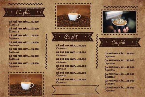 mẫu menu đẹp cho quán cà phê cổ điển