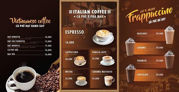 mẫu menu đẹp cho quán cà phê sang trọng