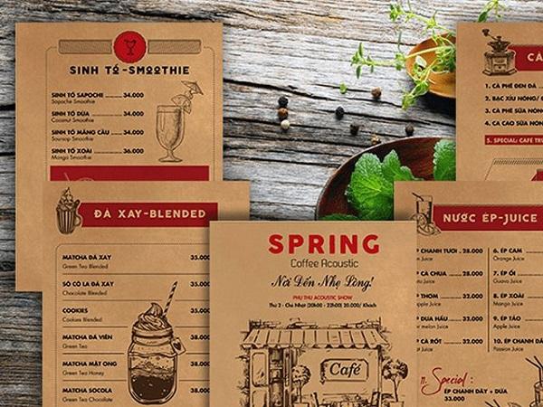 mẫu menu đẹp cho quán cà phê độc đáo