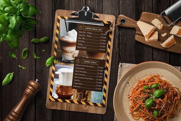 mẫu menu đẹp cho quán cà phê thu hút
