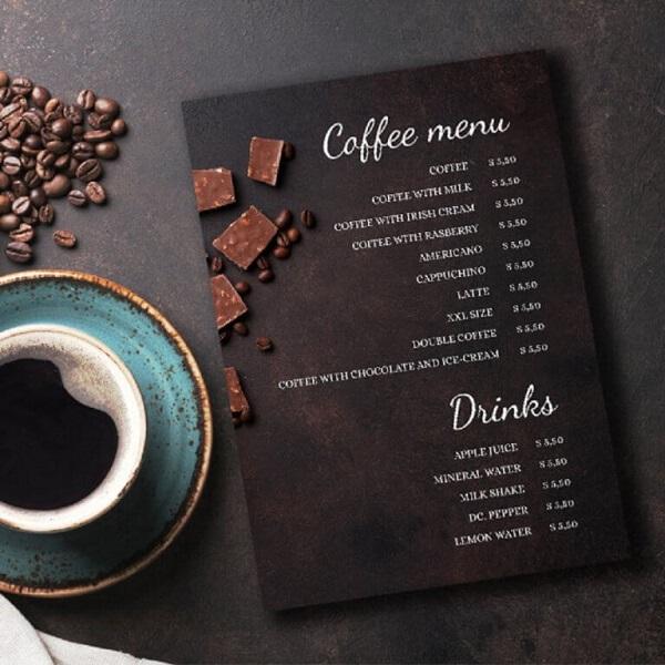 mẫu menu đẹp cho quán cà phê