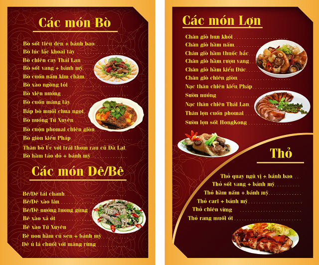 mẫu menu đẹp cho quán nhậu
