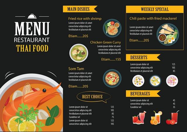 mẫu menu đẹp cho quán nhậu thu hút
