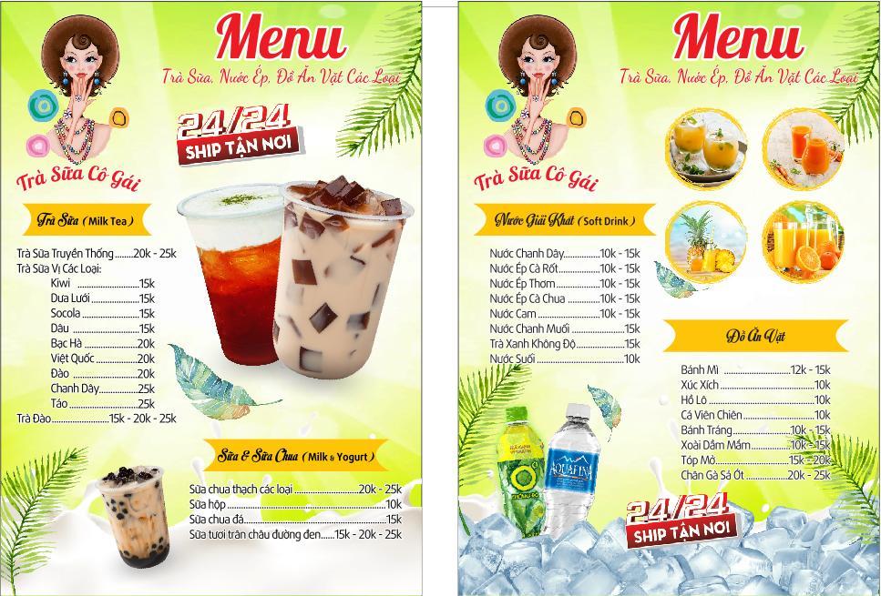 mẫu menu đẹp cho quán trà sữa đẹp mắt