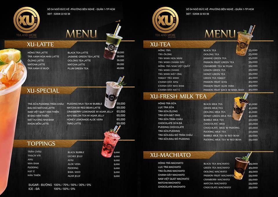 mẫu menu đẹp cho quán trà sữa bình dân