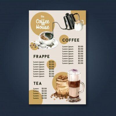 mẫu menu cà phê